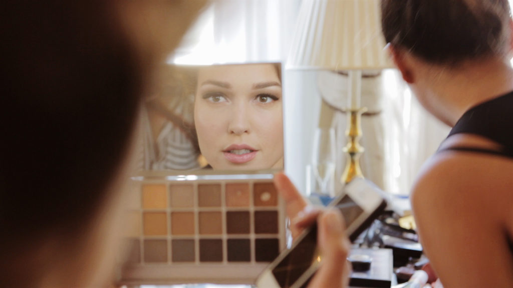 Make-up goes on before the wedding